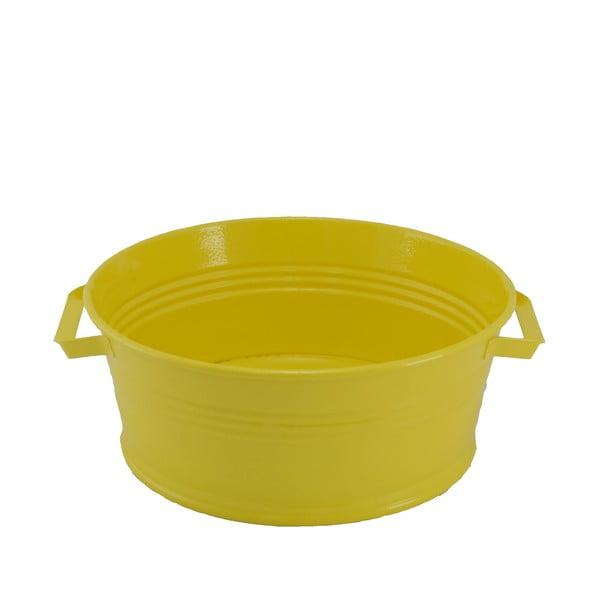 Kovový kbelík s uchy Kovotvar, 10x27 cm, žlutý