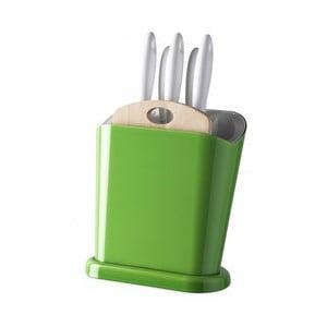 Zelený multifunkční stojan s noži a prkénkem