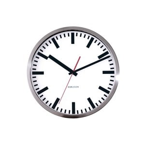 Ceas de perete mic Present Time Station, gri