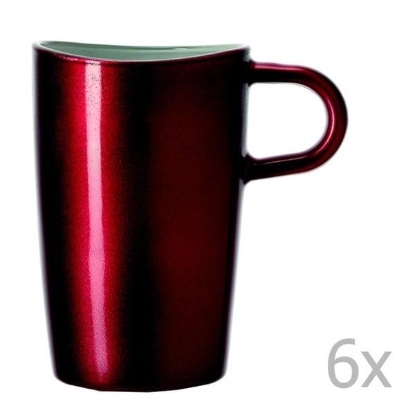 Sada 6 červených metalických hrnků na macchiato LEONARDO Loop, 365 ml