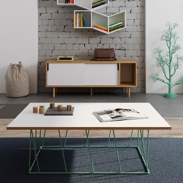 Bílý konferenční stolek se zelenými nohami TemaHome Helix, 120 cm