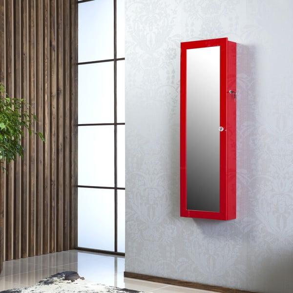 Uzamykatelné závěsné zrcadlo se šperkovnicí Melody, červené