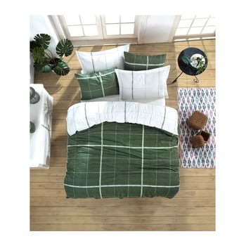 Lenjerie de pat cu cearșaf din bumbac ranforce, pentru pat dublu Mijolnir Maya Green, 200 x 220 cm de la Mijolnir