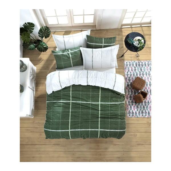 Lenjerie de pat cu cearșaf din bumbac ranforce, pentru pat dublu Mijolnir Maya Green, 200 x 220 cm