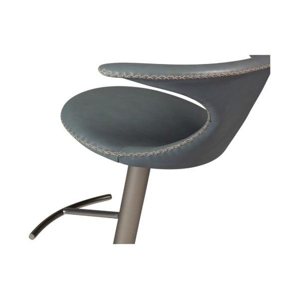 Šedá barová nastavitelná židle s koženým sedákem DAN-FORM Denmark Flair