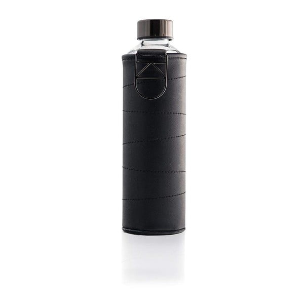 Grafitowa butelka ze szkła borokrzemowego z pokrowcem se skóry ekologicznej Equa Mismatch, 750 ml