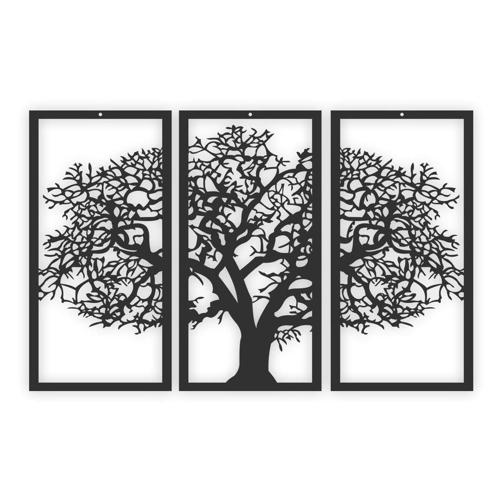 Černý 3dílný nástěnný obraz Solid Tree