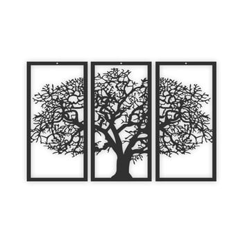 Tablou din 3 piese Solid Tree, negru
