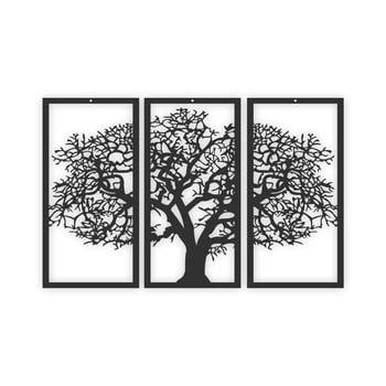 Tablou din 3 piese Solid Tree, negru imagine