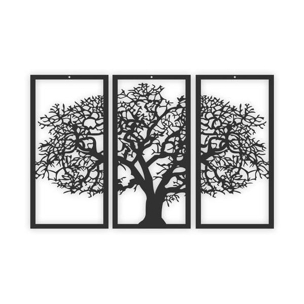 Czarny 3-częściowy obraz Solid Tree