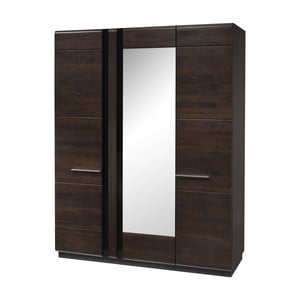 Třídveřová šatní skříň se zrcadlem Szynaka Meble Porti Dark Chocolate