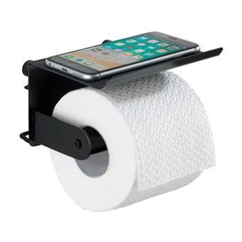 Suport de perete pentru hârtie igienică și telefon Wenko Classic Plus, negru de la Wenko