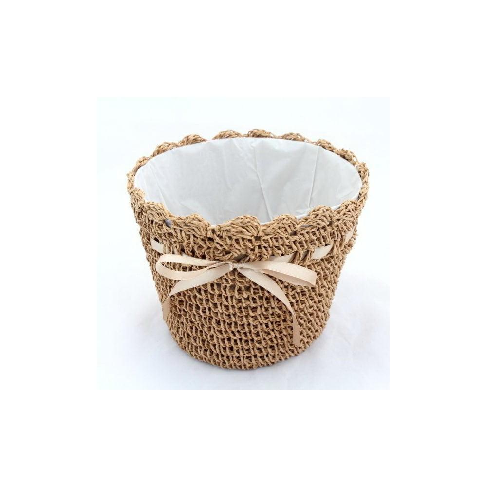 Hnědý pletený obal na květináč Dakls, ⌀ 18 cm