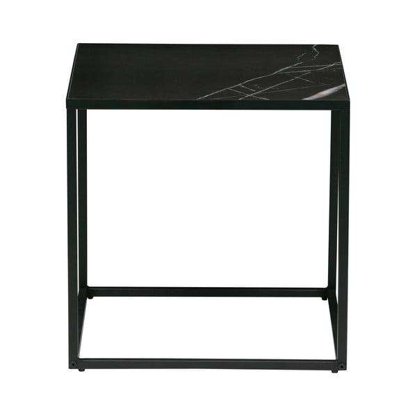Čierny odkladací stolík s doskou v dekore mramoru vtwonen, 45 x 45 cm