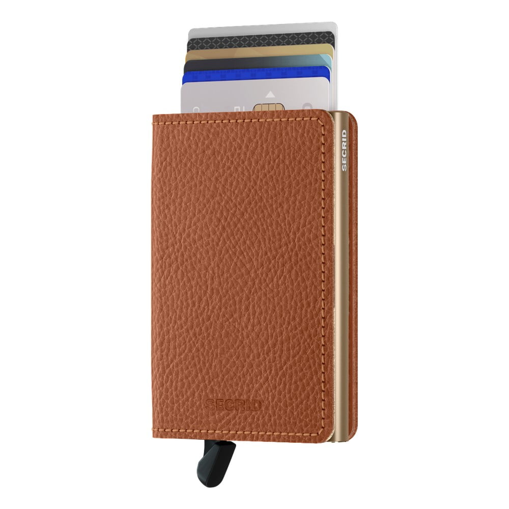 Karamelově hnědá kožená peněženka s pouzdrem na karty Secrid Elegance