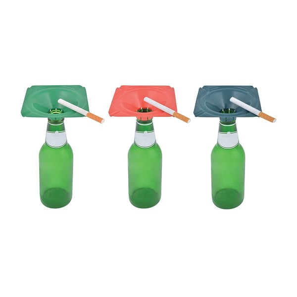 Sada 3 popelníků na prázdnou lahev Esschert Design Happy
