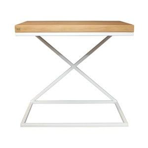 Bílý odkládací stolek s deskou z dubového dřeva Take Me HOME, 50x30cm