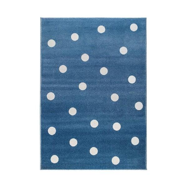 Modrý koberec s puntíky KICOTI Blue Peas, 240 x 330 cm