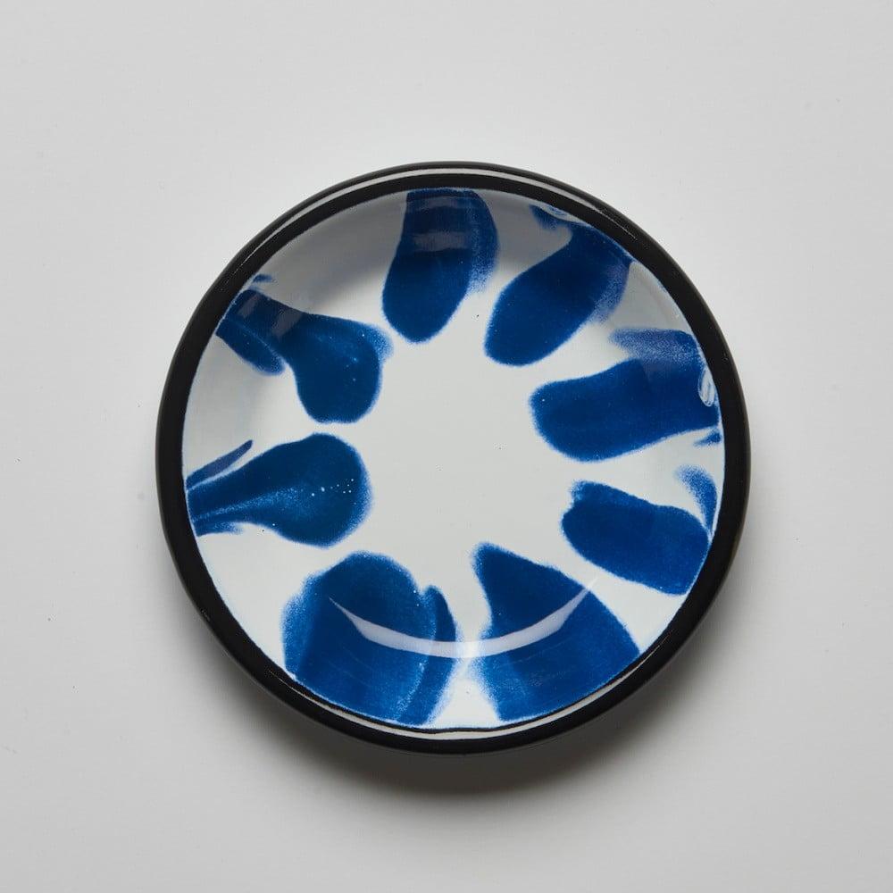 Modrobílý smaltovaný talíř Kapka Little Color, Ø12cm