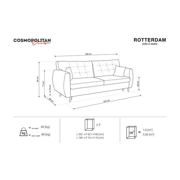 Trojmístná rozkládací pohovka s úložným prostorem ve stříbrné barvě Cosmopolitan design Rotterdam