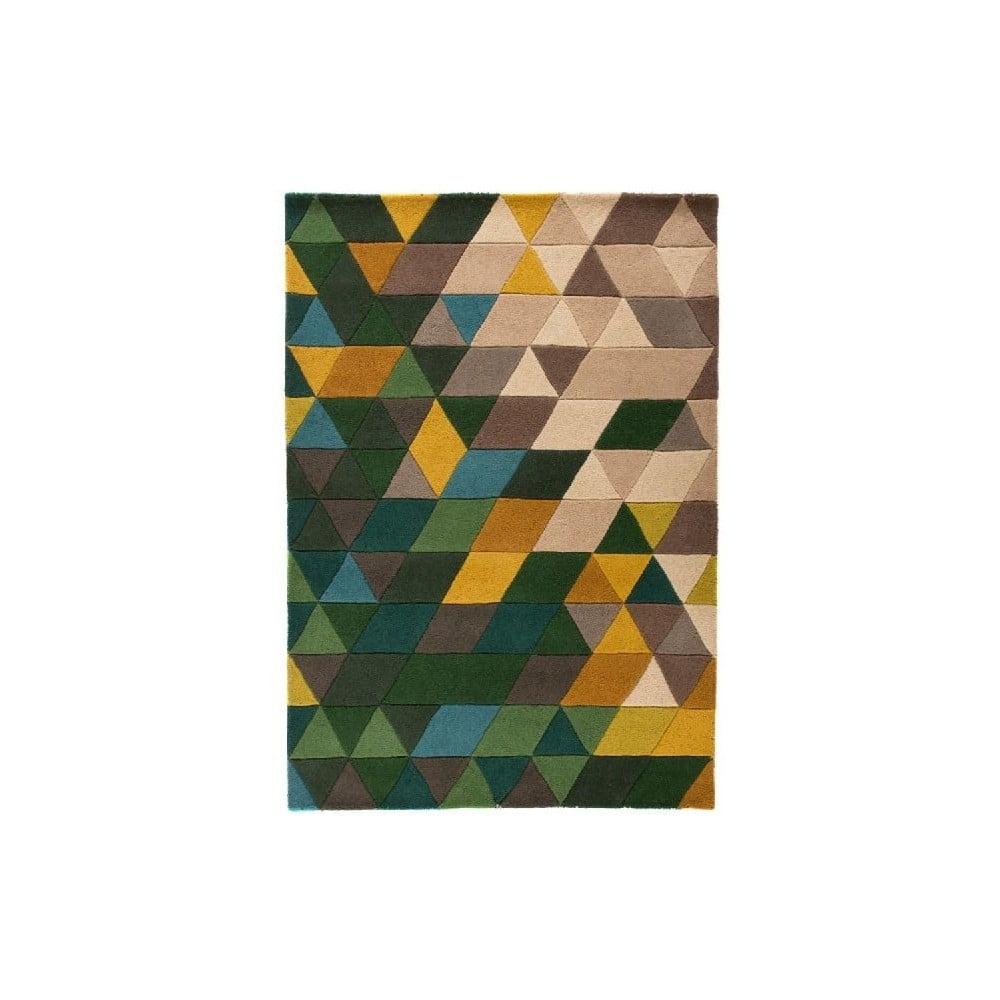 Zelený vlněný koberec Flair Rugs Prism, 120 x 170 cm