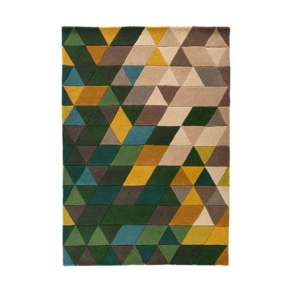 Vlněný koberec Flair Rugs Illusion Prism Green Triangles, 120 x 170 cm