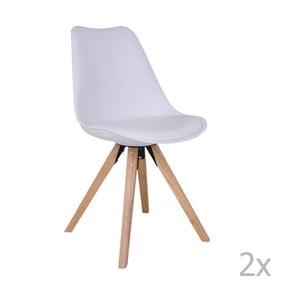 Set 2 scaune cu picioare din lemn House Nordic Bergen, alb