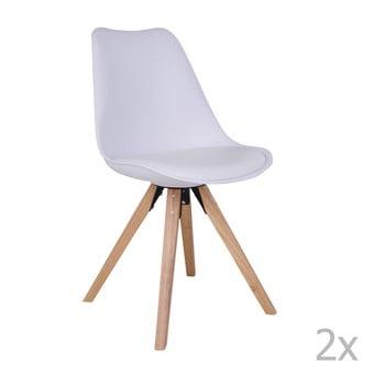 Set 2 scaune cu picioare din lemn de arbore de cauciuc House Nordic Bergen, alb de la House Nordic