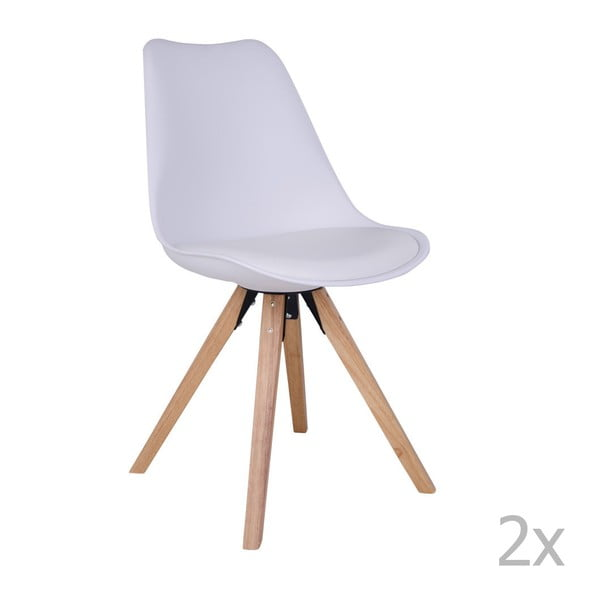 Bergen 2 db fehér szék kaucsukfa lábakkal - House Nordic