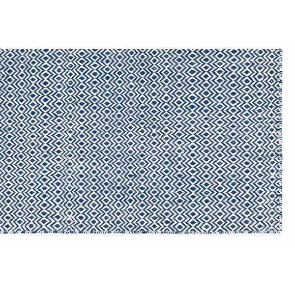 Ručně tkaný koberec Blue Zigzag Kilim, 158x209 cm