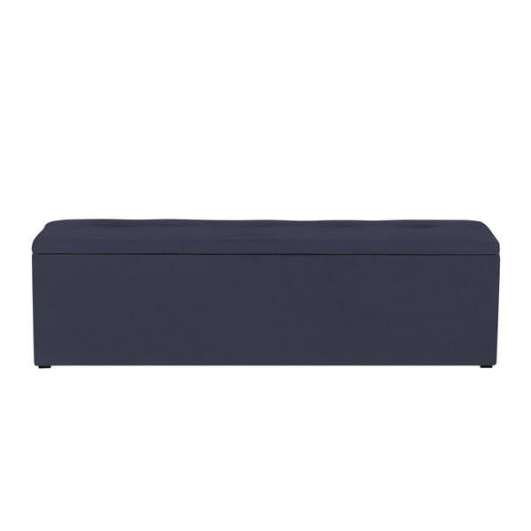 Tmavě modrý otoman k posteli s úložným prostorem Kooko Home, 47 x 140 cm