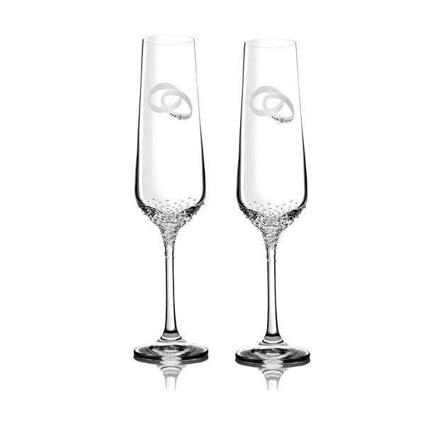 Sada 2 šampaňských fléten Porte se Swarovski Elements v luxusním balení