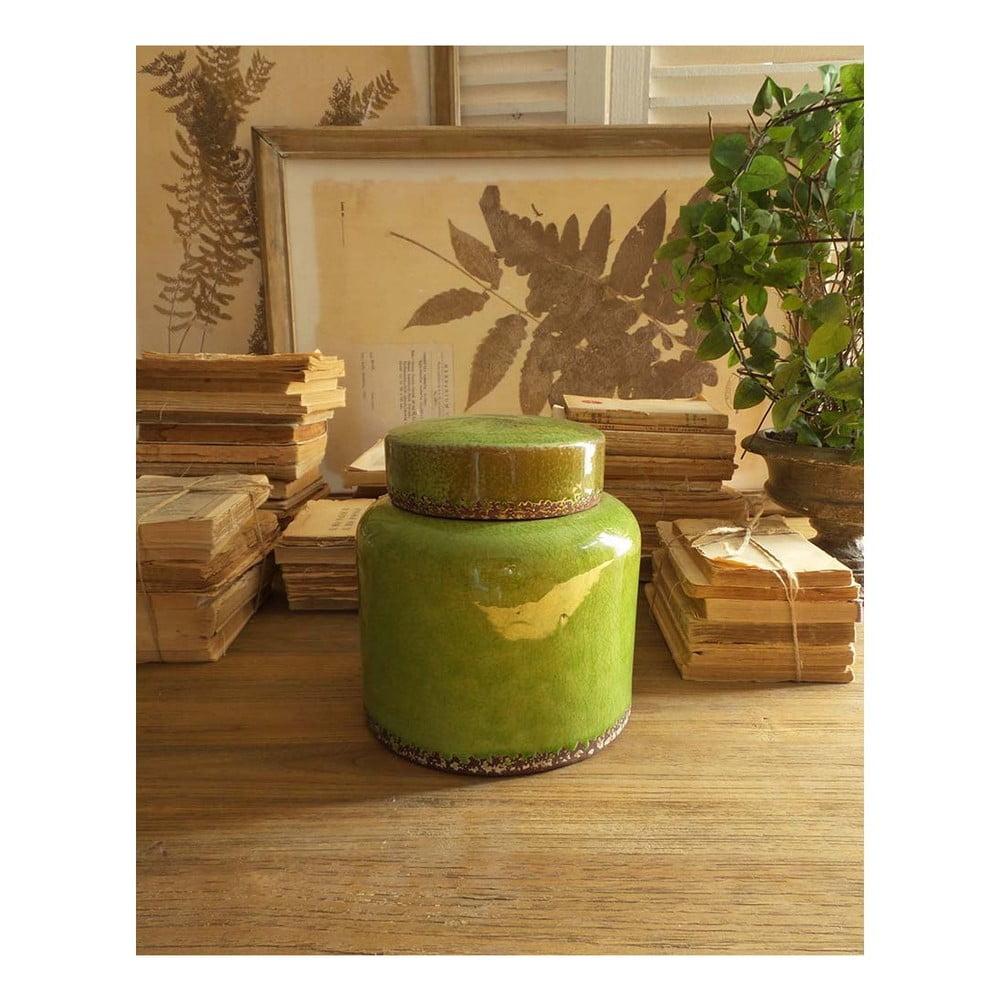 Zelená keramická nádoba s víkem Orchidea Milano, výška 21 cm