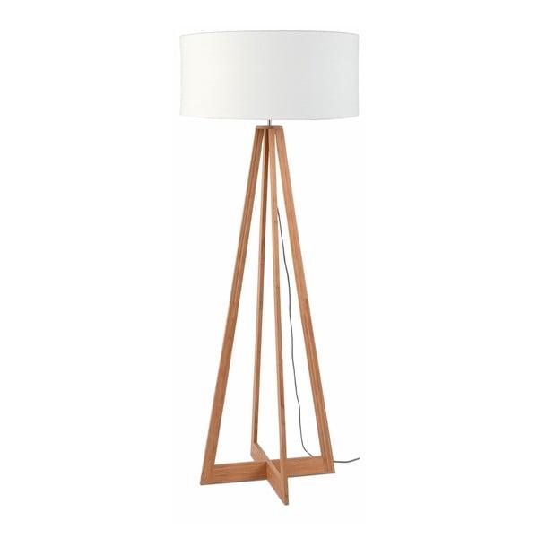 Everest állólámpa fehér búrával és bambusz lámpatesttel - Good&Mojo