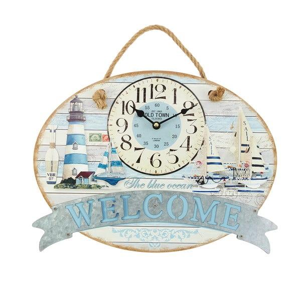 Nástěnné hodiny Welcome Blue, 40x30 cm