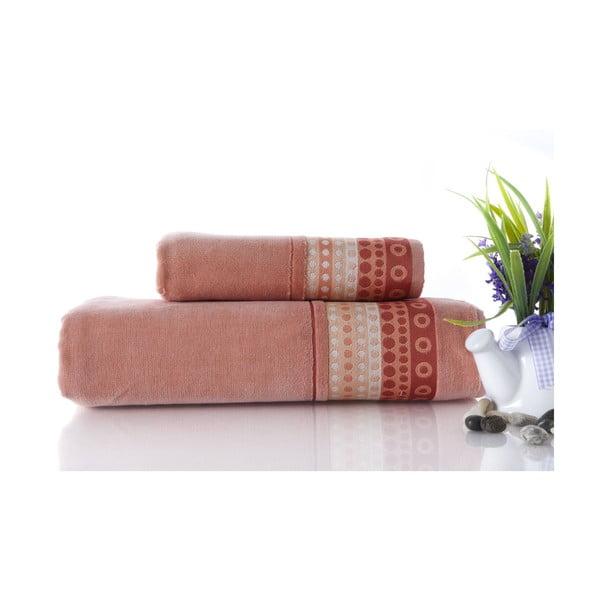 Set dvou ručníků Golf Pinkish Orange, 70x140 a 50x90 cm