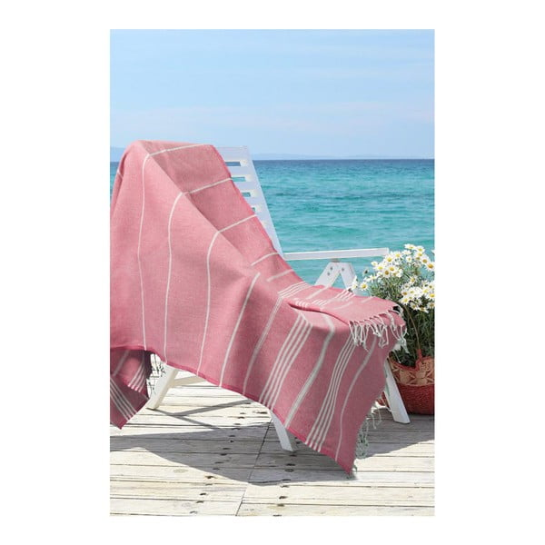 Prosop de plajă Kate Louise Cotton Collection Classic, 100 x 180 cm, roșu