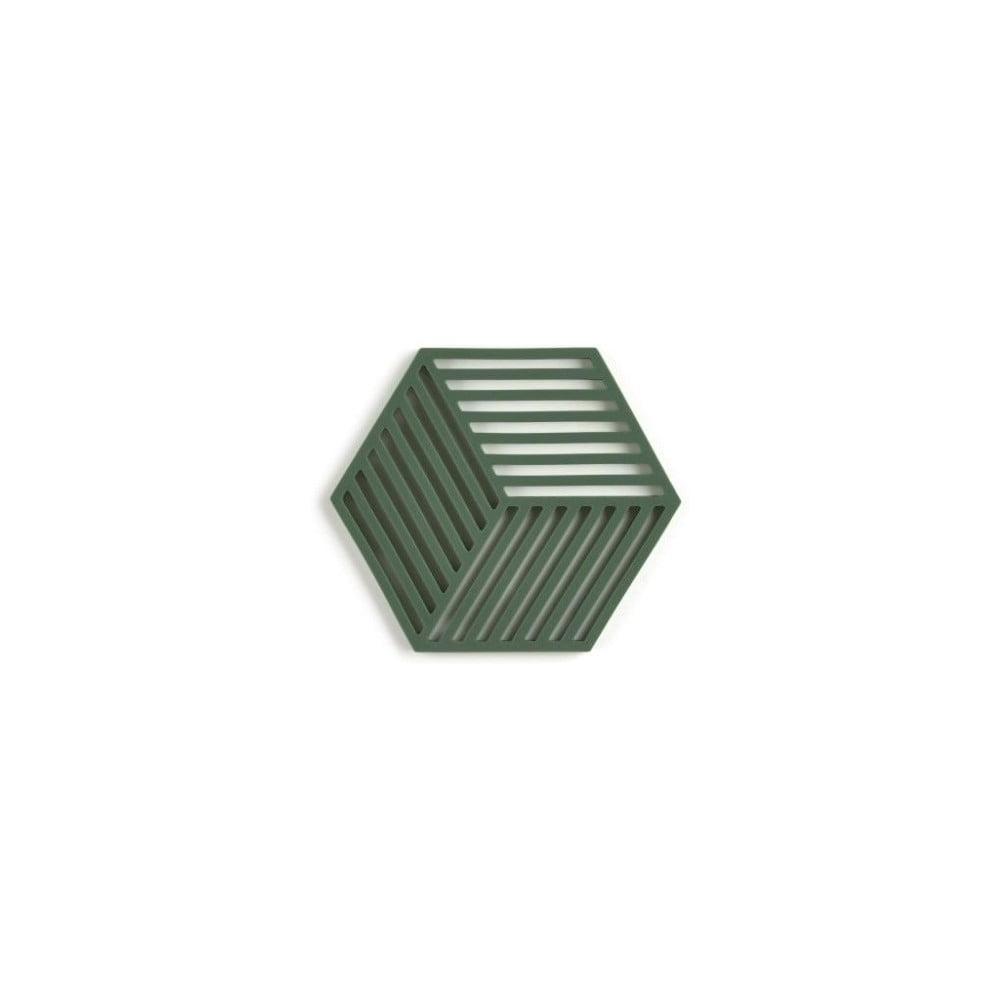Tmavě zelená silikonová podložka pod hrnec Zone Hexagon