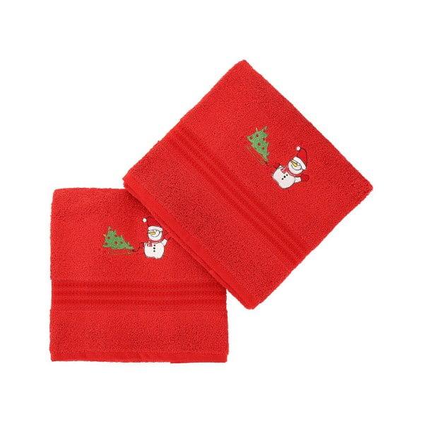 Zestaw 2 ręczników Corap Red Snowman, 50x90 cm