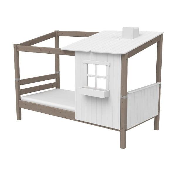 Brązowo-białe łóżko w kształcie domu z drewna sosnowego Flexa Classic Tree House, 90x200 cm