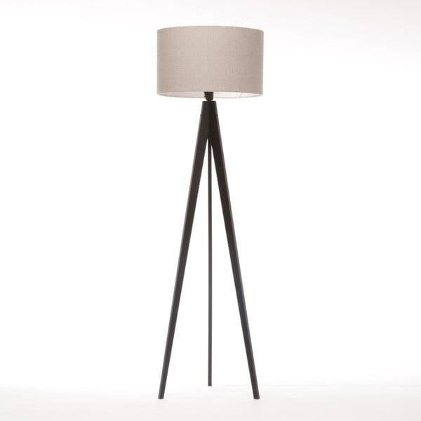 Krémová stojací lampa 4room Artist, černá lakovaná bříza, 150 cm