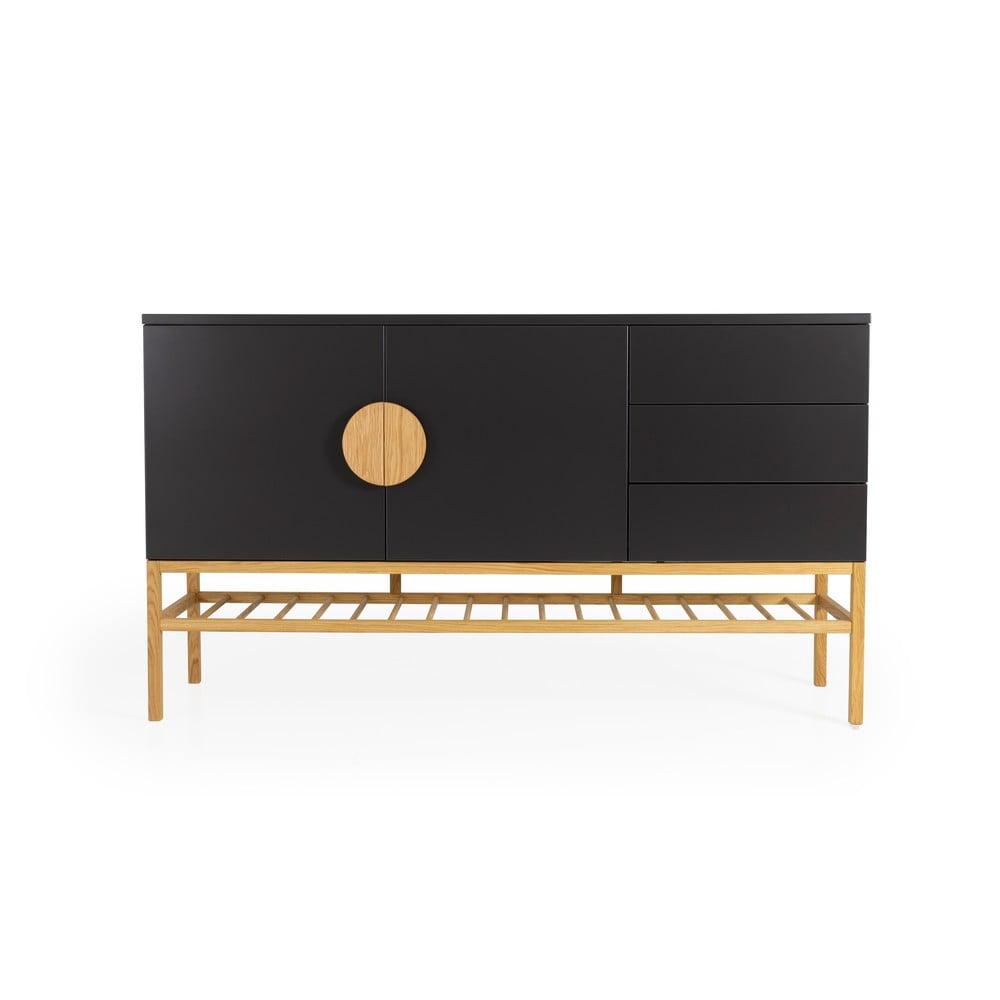 Černý dvoudveřový příborník se 3 zásuvkami s nohami z dubového dřeva Tenzo Scoop, šířka 176 cm