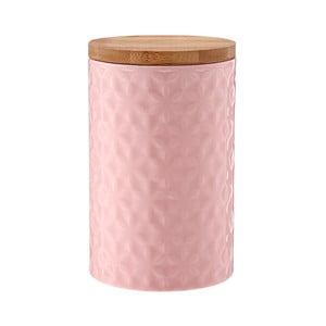 Růžová porcelánová dóza s bambusovým víkem Ladelle Halo Flower, výška 17cm