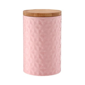 Recipient din porțelan cu capac de bambus Ladelle Halo Flower, înălțime 17 cm, roz