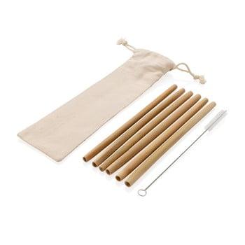 Set 6 paie reutilizabile din bambus pentru băuturi cu perie și husă XD Collection imagine