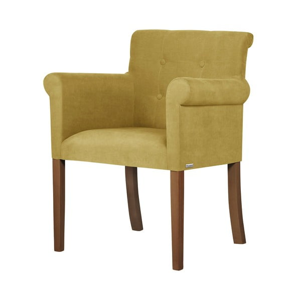 Žlutá židle s tmavě hnědými nohami z bukového dřeva Ted Lapidus Maison Flacon
