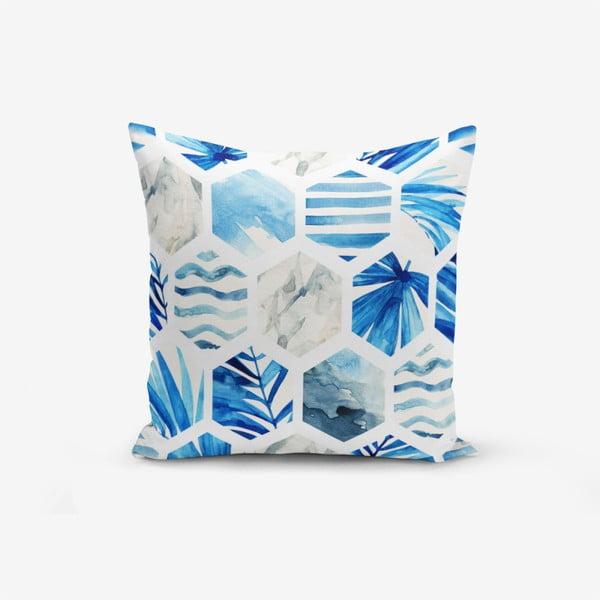 Povlak na polštář s příměsí bavlny Minimalist Cushion Covers Blue Geometric, 45 x 45 cm