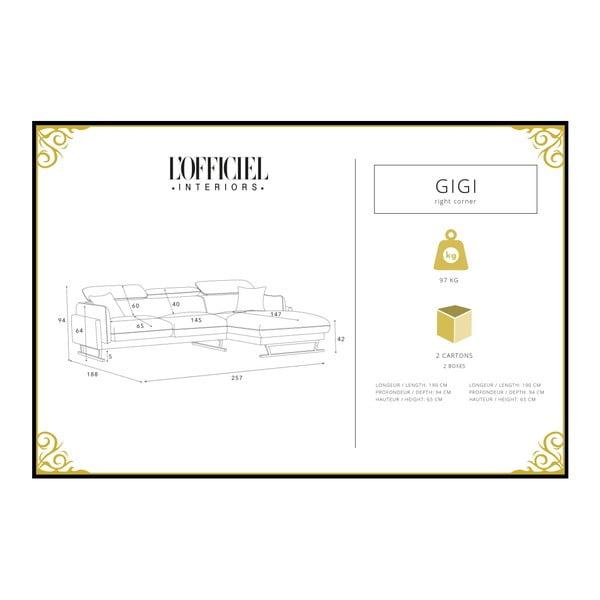 Krémová rohová pohovka s lenoškou na pravé straně L'Officiel Gigi