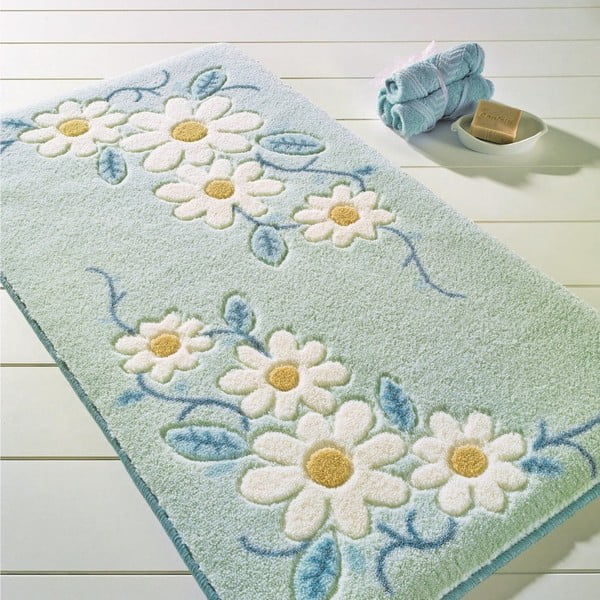 Modrá předložka do koupelny Confetti Bathmats Margherita, 57x100cm
