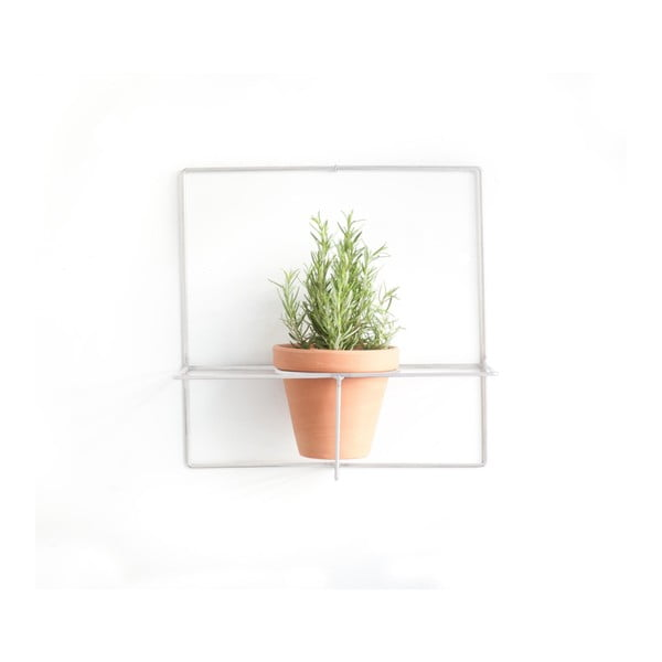 Biely nástenný držiak na kvetináč Really Nice Things Square